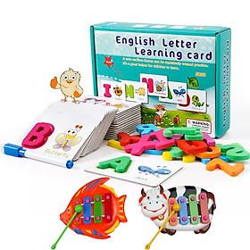 Thẻ Học Nhận Diện Bảng Chữ Cái Tiếng Anh Bằng Gỗ Kèm Bút [Tặng kèm đàn mini]