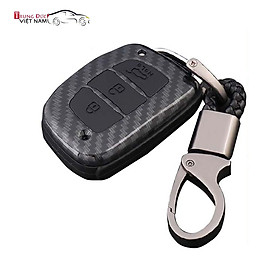 Ốp chìa khóa dành cho xe Hyundai i10, Tucson, Elantra chất liệu nhựa ABS mạ vân Cacbon - Hàng Chính Hãng