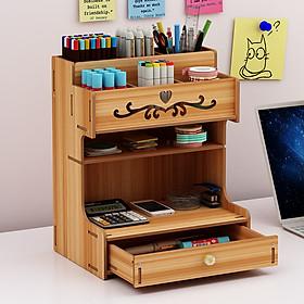 Hộp bút để bàn, kệ đựng bút nhiều ngăn BIBOTOYHB14 bằng gỗ phong cách thời trang sang trọng, dùng trang trí bàn làm việc và để được nhiều đồ dùng văn phòng - Tặng 1 móc khóa khung hình thời trang