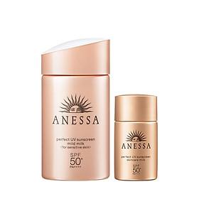 Bộ đôi sữa chống nắng bảo vệ hoàn hảo Anessa 20ml & Sữa chống nắng dịu nhẹ cho da nhạy cảm Anessa 60ml