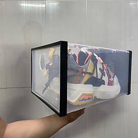 Combo 10 hộp đựng giày trong suốt nhựa cứng, Tháo lắp dễ dàng, Chịu lực 30kg | Hộp trắng Viền đen