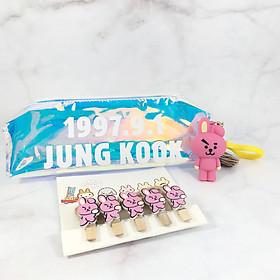 Combo Móc khóa Bóp viết Hologram Jung Kook