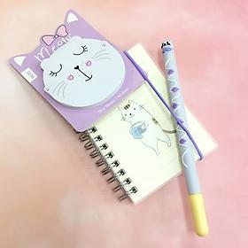 Combo Giấy Note - Bút - Sổ Lò Xo Mèo dễ thương [ GIAO MẪU NGẪU NHIÊN ]