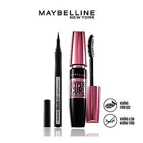 Bộ trang điểm mắt lâu trôi Mascara cong mi Hyper Curl và Bút kẻ mắt 36H không thấm nước Line Tatoo High Impact Maybelline New York