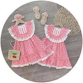 Váy đầm cho bé gái hình chery kiểu xòe cho bé từ 8kg đến 22kg( màu hồng)