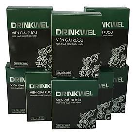 [8 hộp] Viên giải rượu, giải độc gan, mát gan, giảm tình trạng khô khát khi say, thanh nhiệt, tăng cường chức năng gan. Drinkwel, hộp vỉ 4 viên (Đen)