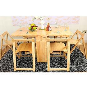 Bàn ghế xếp gọn màu gỗ tự nhiên