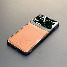 Ốp lưng da kính cao cấp dành cho iPhone 7 Plus / iPhone 8 Plus - Màu vàng nâu - Hàng nhập khẩu - DELICATE