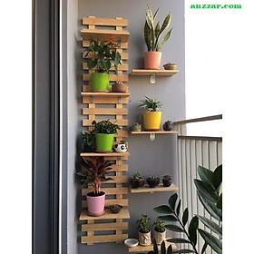 Kệ gỗ thông treo tường trang trí ban công, ngoại thất đẹp, treo cây, hoa