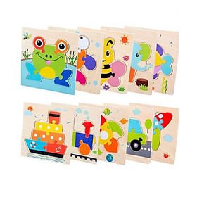 Đồ chơi trí tuệ - Combo 10 Bộ Tranh Ghép Gỗ Nổi - Children's Cartoon  Puzzle Board Toy (Giao ngẫu nhiên)