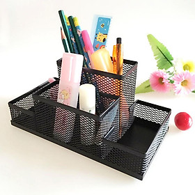 Smooth & Finely Polish Office Mesh Desk Accessories Organizer, 4-compartment