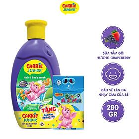 Sữa tắm Gội cho bé Carrie Junior hương Grapeberry 280g - Tặng Bút Màu