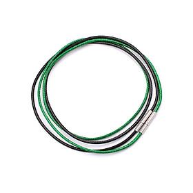 Combo 2 dây vòng cổ cao su đen, xanh lá móc inox DCSEXL1 - Dây dù bọc cao su
