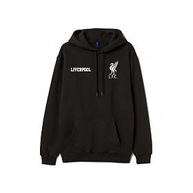 Áo Hoodie Đen Đội Bóng Liverpool Logo Trắng