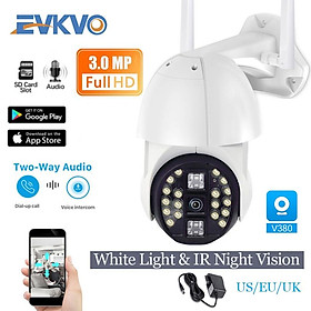 EVKVO - 20LED Lights Full Color Tầm nhìn ban đêm - 5x ZOOM - V380 APP FULL HD 3MP Quay WIFI Camera IP Network IP66 Không thấm nước Outdoor PTZ IP Camera CCTV Dual Antennas Âm thanh hai chiều Motion Detection Alarm ONVIF NVR P2P - V380 PRO APP