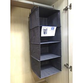 Tủ treo xếp quần áo 4 tầng hàng Việt Nam phong cách tiện gọn, dễ tìm chất vải oxford 300D  màu ghi (Hanging closet)