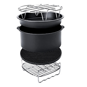Air Fryer Accessories Set of 8, Fit for 4.2-8qt Cake Barrel Pizza Pan Rack