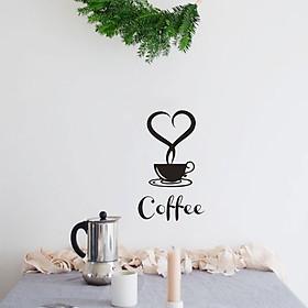 Decal dán tường tách cà phê trái tim trang trí quán cà phê đẹp