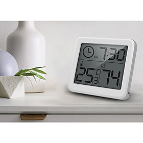 Đồng hồ hiển thị nhiệt độ và độ ẩm mini sử dụng trong phòng ngủ, phòng làm việc, xe hơi, bệnh viện... ( Tặng kèm đèn led mini cắm cổng USB ngẫu nhiên )