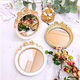 Đĩa gương mini tròn họa tiết nơ sắc màu