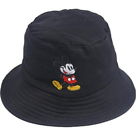 Mũ tai bèo bucket thêu hình chuột Mickey đẹp, vành rộng chống nắng tốt, chất liệu vải mềm mại dễ chịu