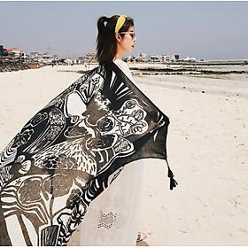 Khăn choàng đi biển - chống nắng thổ cẩm họa tiết hoa đen Vintage mẫu mới SKC17