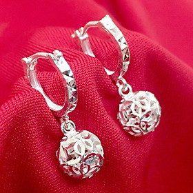 Bông tai nữ Bạc Quang Thản kiểu dáng dài đeo quả cầu kim tiền phay sáng bóng chất liệu bạc thật không xi mạ, phong cách cá tính phù hợp với mọi lứa tuổi - QTBT41
