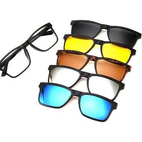 Kính 6 in 1 kính râm form vuông kính mát cận kính đi biển chống tía UV