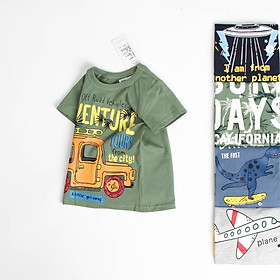 Áo thun bé trai 27 kids vải cotton 100%, áo bé trai in hình khủng long, ô tô, máy bay 27KIDS02