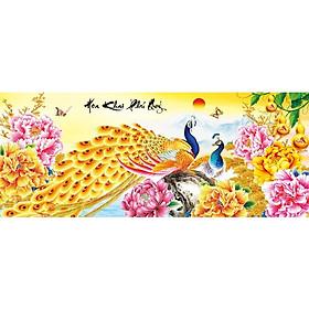 Tranh thêu chữ thập Hoa Khai Phú Quý (92*43cm) chưa thêu
