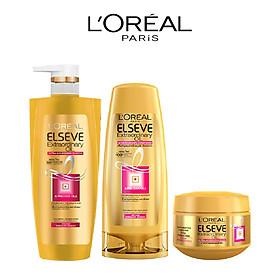 Bộ sản phẩm chăm sóc tóc chiết xuất tinh dầu hoa tự nhiên L'Oreal Paris Elseve Extraordinary Oil (Gội 650ml, Xả 325ml, Ủ 200ml)