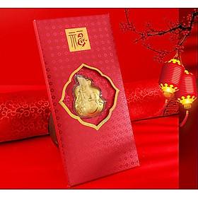 Bao Lì Xì Con Chuột Mạ Vàng 24k - Lì Xì Kim Tý ôm túi vàng chiêu tài rước lộc Tết Canh Tý 2020