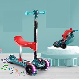 Xe trượt scooter cho bé bánh tự cân bằng, bánh siêu bự 5cm, siêu êm, có ghế chịu lực 80KG, có nhạc và đèn LED