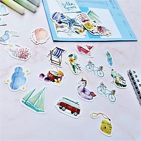 Hộp 46 Miếng Dán Sticker Trang Trí Chủ Đề Du Lịch Biển