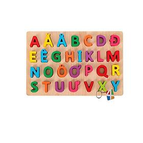 Bảng chữ cái Tiếng Việt cỡ nhỏ cho bé học đánh vần làm bằng gỗ tự nhiên an toàn cho bé, hỗ trợ phát triển tư duy cho bé.