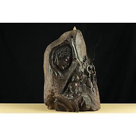 Tượng gỗ mỹ nghệ- Nhất tâm bái Phật- Gỗ trắc