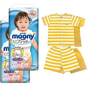 Bộ 2 tã quần cao cấp bé gái Moony XL38 [Tặng bộ quần áo Nous 18-24m]