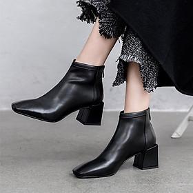 Giày boot nữ cổ ngắn mũi vuông gót tràn viền thời trang cao cấp - Giày boot gót vuông nữ cao 5cm - Linus LN229