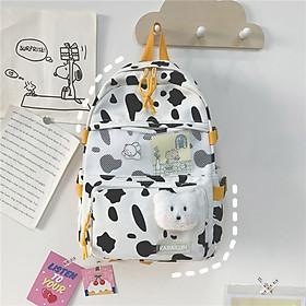 Balo nữ đi học laptop vải Canvas ulzzang bò sữa cặp sách đi học thời trang học sinh sinh viên( Tặng kèm gấu và sticker)