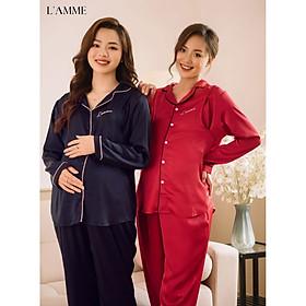Bộ bầu sau sinh mặc nhà (L03) chất lụa mát mẻ, thấm hút mồ hôi tốt thích hợp cho da nhạy cảm thiết kế bởi LAMME