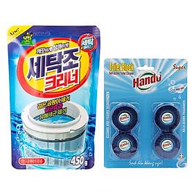 Combo gói bột tẩy vệ sinh lồng máy giặt Hàn Quốc 450g và vỉ 4 viên tẩy sạch khử mùi bồn cầu Hando