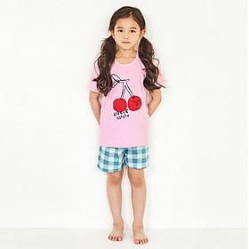 Bộ đồ ngắn mặc nhà bé gái Unifriend Hàn Quốc UniN02 cho bé 1-10 tuổi. Vải cotton organic Korea. Hàng chính hãng