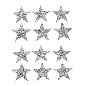 12 Star Dán Sắt Trên Miếng Dán Cho Quần Áo Áo Thun Tự Làm Huy Hiệu Appliques