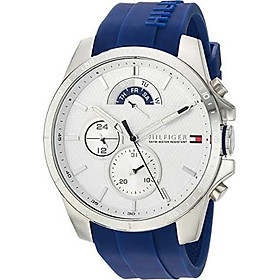 Tommy Hilfiger Men's Cool Sport Stainless Steel Quartz Watch with Silicone Strap, Blue, 22 (Model: 1791349)