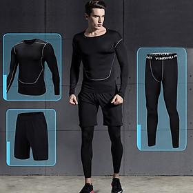 Set 3 in 1 Quần áo gym nam, Quần áo legging nam, Quần áo gym giữ nhiệt nam - Thích hợp tập gym, đá bóng, chạy bộ, bóng rổ hoặc giữ ấm cơ thể - Quần áo tập gym nam chất liệu thun lạnh cao cấp ôm body (SP001)