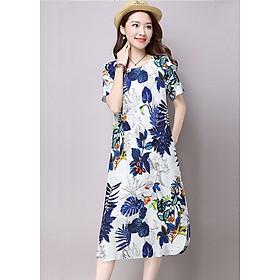 Đầm nữ chất đũi họa tiết hoa lá form rộng Đũi Việt DVD149