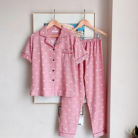 Pijama, Bộ Ngủ Nữ cotton ngắn tay quần dài BNND04