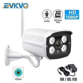 EVKVO - ICSEE XMeye APP Kết nối WIFI Camera theo dõi ngoài trời HD 1080P WIFI Bullet IP Camera CCTV Tầm nhìn ban đêm hồng ngoại Metal Waterproof Outdoor Home Security Surveillance Camera IP Phát hiện chuyển động Alarm Đàm thoại hai chiều