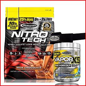 Combo Tăng cơ-Siêu mạnh mẽ Nitro tech bịch 10lbs + Vapor X5 hộp 30 lần dùng - Tăng cơ nhanh chóng, Tăng sức mạnh, tăng sự tỉnh táo, tăng sức bền - Kèm quà - Hàng chuẩn chính hãng