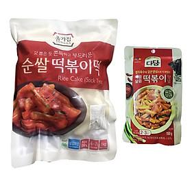 Combo Bánh Gạo TOPOKKI JongGa Cao Cấp 1Kg Và Sốt Nấu Bánh Gạo Cay Ngọt Tokbokki Beksul Gói 150g  - Nhập Khẩu Hàn Quốc